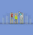 teacher on stairs banner flat style vector image