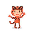toddler kid in colorful tiger costume child in vector image