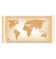 vintage world map on parchment scroll vector image