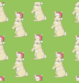 white rabbit sneaking christmas day on blue vector image