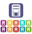 square post box icons set vector image