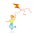 happy boy running with his flying kite kids vector image