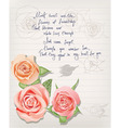 vintage postcard with roses and lettering vector image