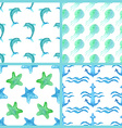 Set of watercolor marine seamless patterns vector image