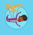 businessman flying with dollar signs vector image