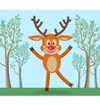 Cute Deer in Forest Cartoon Flat vector image