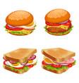 set of burgers hamburgers and cheeseburgers with vector image