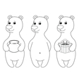 Teddy bears set contours vector image vector image