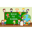 Back to school theme with students and books vector image
