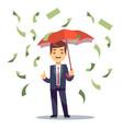 businessman standing with umbrella in money rain vector image vector image