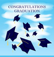 graduation caps fly in the air in a moment of vector image