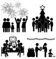 Set of Christmas flat icons isolated on white vector image