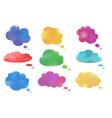 Watercolor cloud speech bubbles collection vector image