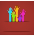 modern colorful hands background vector image vector image