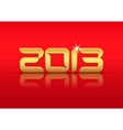 Gold 2013 year with reflection vector image