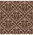 Brown and beige floral damask pattern vector image