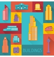 Cityscape with buildings in flat design style vector image