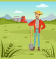 farmer man standing with shovel agriculture and vector image