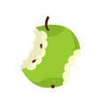 Green apple core isolated fruit trash rubbish on vector image
