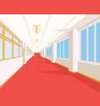 interior of school hall with red floor windows vector image