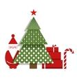 Santa Christmas Tree Presents and a Candy vector image