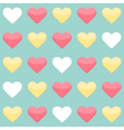 Seamless pattern with yellow red and white hearts vector image