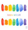 set of raindow watercolor brush strokes vector image