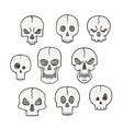 Cartoon set of skulls Scary and halloween vector image