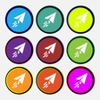 Paper airplane icon sign Nine multi colored round vector image