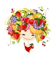Girl with fruits on head fro your design vector image