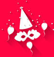 Carnival background with party hat balloons and vector image