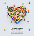 large group of people in the shape of heart sign vector image