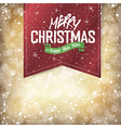merry christmas golden card with red badge vector image