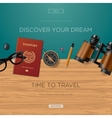 Travel and adventure template discover your dream vector image
