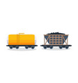 wagons transportation and cargo carriage coal vector image