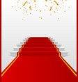 white podium with red carpet pedestal vector image