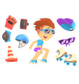 roller skating boy set for label design colorful vector image
