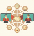 Business Cooperation Concept with Brown Globe vector image vector image