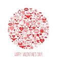 Valentines Day mosaic icons circle card vector image