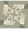 Hand exchange money signs vector image vector image