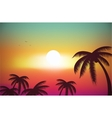 A Tropical Island Sunset Sunrise with Palm Trees vector image