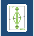 Playing card UFO Conceptual new card alien Green vector image