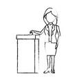 cartoon woman vote at ballot box election vector image