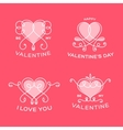 Graceful Floral Valentine Line Style Hearts vector image