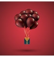 Red balloons raised a gift box Depicted on red vector image