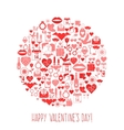 Valentines Day mosaic icons circle card vector image