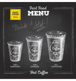 Vintage chalk drawing fast food menu Hot coffee vector image