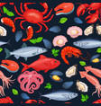 seafood seamless pattern vector image vector image