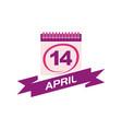 14 april calendar with ribbon vector image