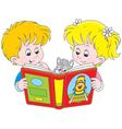 Children reading vector image